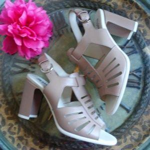 Jil Sander Navy Tan Chunky Heel Sandals